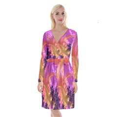 Fractal Puffy Feather Art Artwork Long Sleeve Velvet Front Wrap Dress