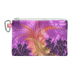 Fractal Puffy Feather Art Artwork Canvas Cosmetic Bag (large)