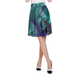 Fractal Turquoise Feather Swirl A Line Skirt by Pakrebo