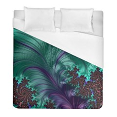 Fractal Turquoise Feather Swirl Duvet Cover (full/ Double Size)