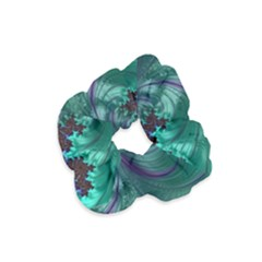 Fractal Turquoise Feather Swirl Velvet Scrunchie by Pakrebo