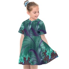 Fractal Turquoise Feather Swirl Kids  Sailor Dress by Pakrebo