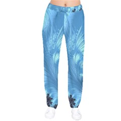 Fractal Art Feather Swirls Puffy Velvet Drawstring Pants by Pakrebo