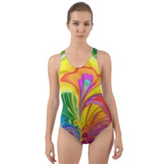 Fractal Bright Exploding Brilliant Cut Out Back One Piece Swimsuit