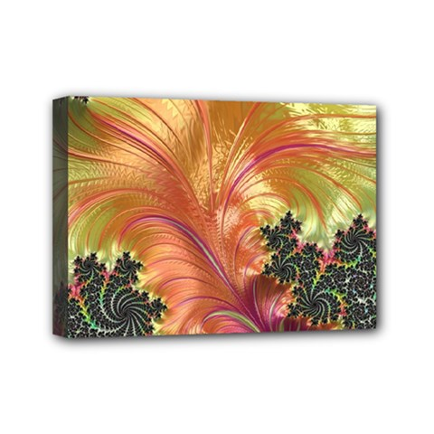 Fractal Feather Artwork Art Mini Canvas 7  X 5  (stretched)