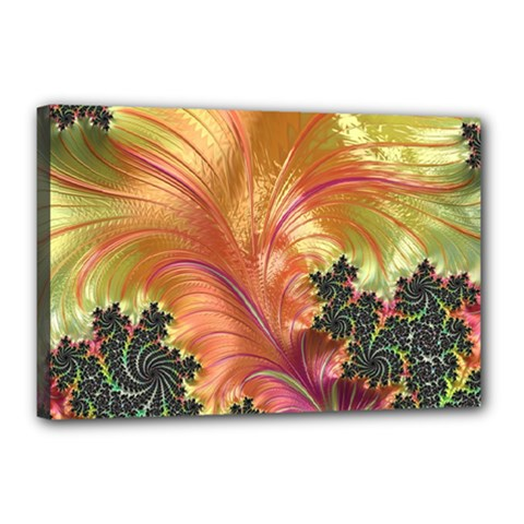 Fractal Feather Artwork Art Canvas 18  X 12  (stretched) by Pakrebo