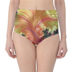 Fractal Feather Artwork Art Classic High Waist Bikini Bottoms by Pakrebo