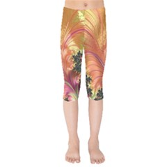 Fractal Feather Artwork Art Kids  Capri Leggings  by Pakrebo