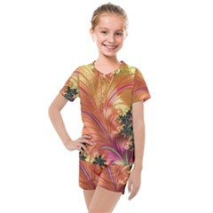 Fractal Feather Artwork Art Kids  Mesh Tee And Shorts Set by Pakrebo