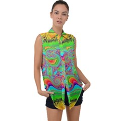 Fractal Art Design Fantasy Light Sleeveless Chiffon Button Shirt