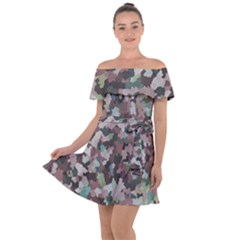 Gray Facets Off Shoulder Velour Dress by artifiart