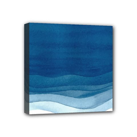 Blue Watercolor Waves Mini Canvas 4  X 4  (stretched) by goljakoff