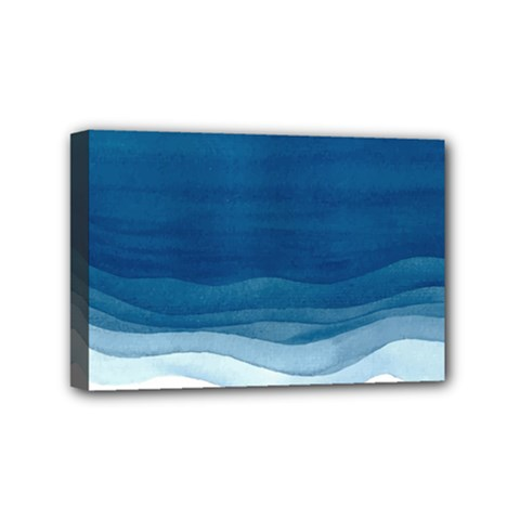 Blue Watercolor Waves Mini Canvas 6  X 4  (stretched) by goljakoff