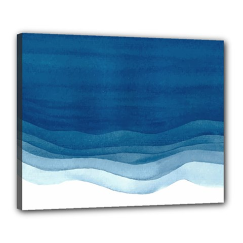 Blue Watercolor Waves Canvas 20  X 16  (stretched) by goljakoff