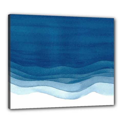 Blue Watercolor Waves Canvas 24  X 20  (stretched) by goljakoff