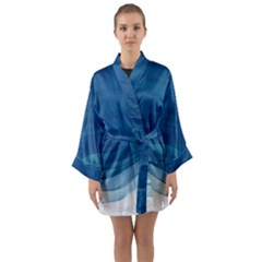 Blue Watercolor Waves Long Sleeve Kimono Robe by goljakoff