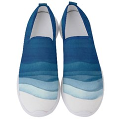 Blue Watercolor Waves Men s Slip On Sneakers by goljakoff