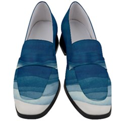 Blue Watercolor Waves Women s Chunky Heel Loafers by goljakoff