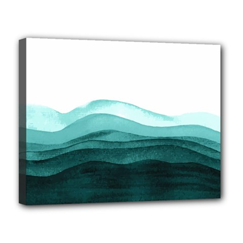 Azure Ocean Waves Canvas 14  X 11  (stretched) by goljakoff