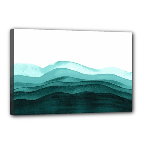 Azure Ocean Waves Canvas 18  X 12  (stretched) by goljakoff