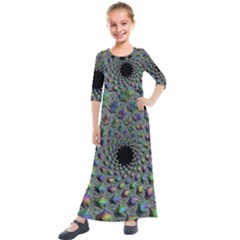 Fractal Rainbow Art Artwork Design Kids  Quarter Sleeve Maxi Dress