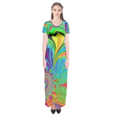 Fractal Art Psychedelic Fantasy Short Sleeve Maxi Dress