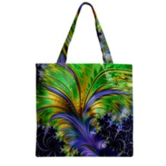 Fractal Gothic Dark Texture Zipper Grocery Tote Bag