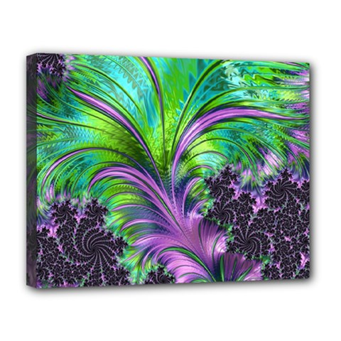 Fractal Art Artwork Feather Swirl Canvas 14  X 11  (stretched)
