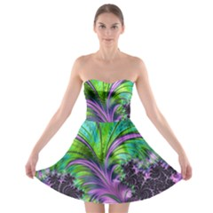 Fractal Art Artwork Feather Swirl Strapless Bra Top Dress
