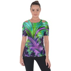 Fractal Art Artwork Feather Swirl Shoulder Cut Out Short Sleeve Top