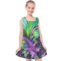 Fractal Art Artwork Feather Swirl Kids  Cross Back Dress