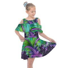 Fractal Art Artwork Feather Swirl Kids  Shoulder Cutout Chiffon Dress