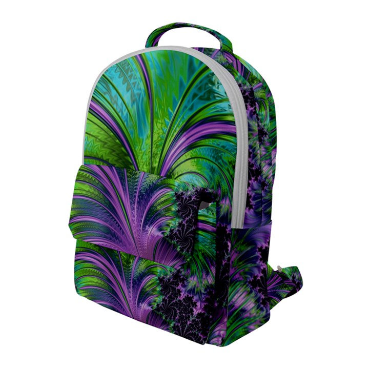 Fractal Art Artwork Feather Swirl Flap Pocket Backpack (Large)