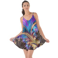 Fractal Feather Swirl Purple Blue Love The Sun Cover Up by Pakrebo