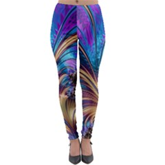 Fractal Feather Swirl Purple Blue Lightweight Velour Leggings