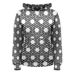 Geometric Floral Curved Shape Motif Women s Pullover Hoodie