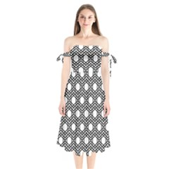 Geometric Floral Curved Shape Motif Shoulder Tie Bardot Midi Dress