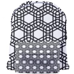 Geometric Floral Curved Shape Motif Giant Full Print Backpack