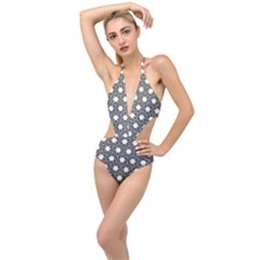 Geometric Floral Curved Shape Motif Plunging Cut Out Swimsuit by Pakrebo