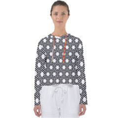 Geometric Floral Curved Shape Motif Women s Slouchy Sweat