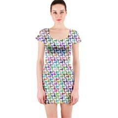 Geometric Floral Shape Geometrical Short Sleeve Bodycon Dress by Pakrebo