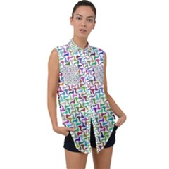 Geometric Floral Shape Geometrical Sleeveless Chiffon Button Shirt