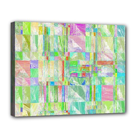 Pastel Quilt Background Texture Canvas 14  X 11  (stretched)