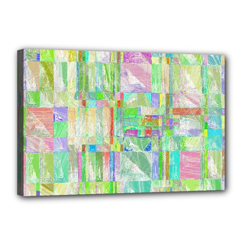 Pastel Quilt Background Texture Canvas 18  X 12  (stretched)