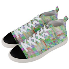 Pastel Quilt Background Texture Men s Mid Top Canvas Sneakers by Pakrebo