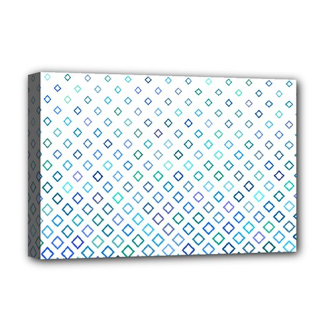 Square Pattern Geometric Blue Deluxe Canvas 18  X 12  (stretched) by Pakrebo
