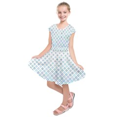 Square Pattern Geometric Blue Kids  Short Sleeve Dress