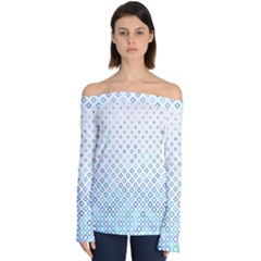 Square Pattern Geometric Blue Off Shoulder Long Sleeve Top