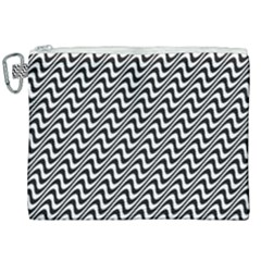 White Line Wave Black Pattern Canvas Cosmetic Bag (xxl)
