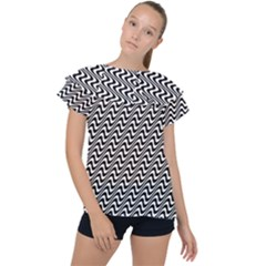 White Line Wave Black Pattern Ruffle Collar Chiffon Blouse